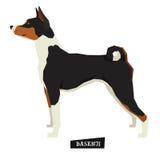 Oggetto isolato stile geometrico di Basenji della raccolta del cane illustrazione di stock