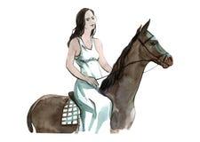 Oggetto isolato variopinto della ragazza dell'illustrazione dell'acquerello a cavallo su fondo bianco per la pubblicità illustrazione vettoriale
