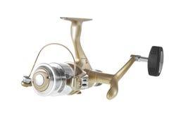 oggetto su una bobina bianca di pesca del fondo Fotografia Stock Libera da Diritti