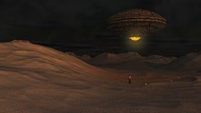 Oggetto volante non identificato e pianeta Fotografie Stock Libere da Diritti