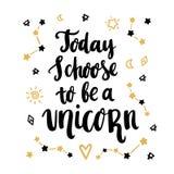 Oggi scelgo di essere un unicorno illustrazione vettoriale