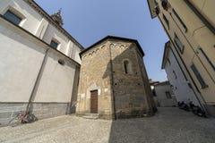 Oggiono, Italy: historic monuments. Oggiono, Lecco, Lombardy, Italy: the Sant`Eufemia church, in baroque style, and the baptistery of San Giovanni Battista, in stock photos