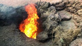 Ogień w crevasse powodować krańcowym upałem w Timanfaya parku narodowym, Lanzarote, wyspy kanaryjskie, Hiszpania, 4k materiał fil zbiory wideo