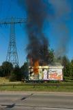 Ogień budowy przyczepa Okręg Marzahn-Hellersdorf Fotografia Stock
