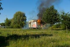 Ogień budowy przyczepa Okręg Marzahn-Hellersdorf Zdjęcie Stock