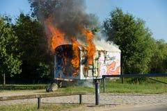 Ogień budowy przyczepa Okręg Marzahn-Hellersdorf Fotografia Royalty Free