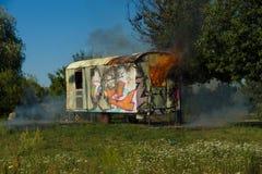 Ogień budowy przyczepa Okręg Marzahn-Hellersdorf Zdjęcia Royalty Free