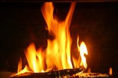 Ogień drewno fotografia stock