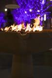 Ogień i bożonarodzeniowe światła Zdjęcia Stock