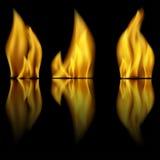 Ogień i odbicie ogień Zdjęcia Royalty Free