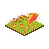 Ogień i tornado Katastrofy Naturalnej ikona również zwrócić corel ilustracji wektora Obrazy Royalty Free