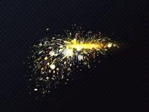 Ogień iskrzy wektorowego metalu spaw lub rozcięcie migocze ilustracji