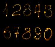 Ogień liczby, od (0), 9 zdjęcie stock