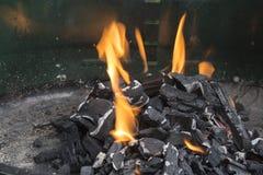 Ogień na grilla węglu Obraz Stock
