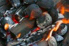 Ogień, płonący węgle drzewni Obrazy Royalty Free