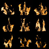 Ogień płonie kolaż Zdjęcie Stock