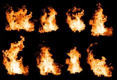 Ogień płonie kolekcję Fotografia Stock