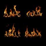 Ogień płonie kolekcję Obrazy Royalty Free