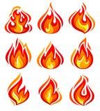 Ogień płonie nowego set ilustracja wektor
