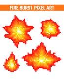 Ogień płonie piksel ikony ustawiać Fotografia Royalty Free