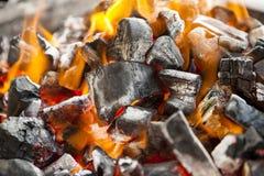 Ogień, pali węgla zakończenie up obraz stock