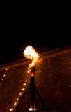 Ogień w nocy, duży płomień Zdjęcie Royalty Free