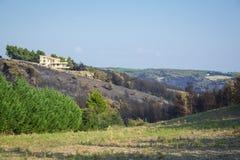 Ogień w północnym wschodzie Attica, Grecja zdjęcia stock