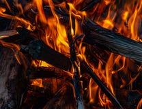 Ogień ogień w wieczór zdjęcia stock