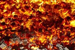 ogień Wulkanu płonący materiał Węgla drzewnego ognisko Emisi węgla spalanie zdjęcie royalty free