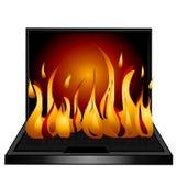 ogień laptopa klawiaturowy komputera Obrazy Royalty Free