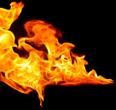 Ogień na czarnym tle Zdjęcie Stock