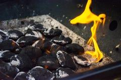 Ogień od grilla Zdjęcia Stock