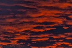Ogień W niebie Czerwony zmierzch z chmurami Obraz Stock