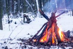 Ogień w zima lesie Zdjęcie Stock