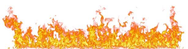 Ogieni płomienie odizolowywający na białym tle Zdjęcia Stock