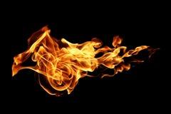 Ogieni płomienie odizolowywający na czerni fotografia royalty free
