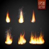Ogieni płomienie odizolowywający na przejrzystym tle Wektorowy realistyczny specjalny skutek ilustracja wektor