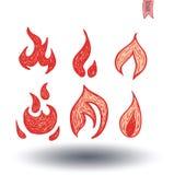 Ogieni płomienie, ustawiają ikony, wektorowa ilustracja ilustracja wektor