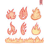 Ogieni płomienie, ustawiają ikony, wektorowa ilustracja ilustracji