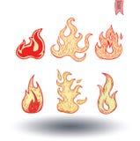 Ogieni płomienie, ustawiają ikony, wektorowa ilustracja royalty ilustracja