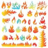Ogieni płomienie, ustawiają ikony, wektorowa ilustracja Fotografia Royalty Free