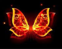 Ogieni skrzydła motyl na czarnym tle ilustracja wektor