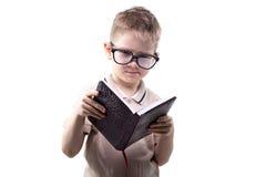 Ogilla lite pojkeläseboken fotografering för bildbyråer