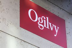 Ogilvy sign in dusseldorf germany. Dusseldorf, North Rhine-Westphalia/germany - 12 10 18: ogilvy sign in dusseldorf germany stock images