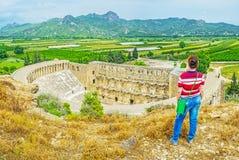 Oglądać Aspendos amfiteatr i krajobraz Obraz Royalty Free