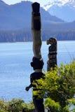 Oglądać dennego totemu słupa ` Namgis narodu Pierwszy miejsce pochówku, ostrzeżenie zatoka, BC Zdjęcie Stock
