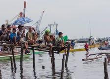 Oglądać drewnianej prędkości łódkowaty ścigać się Zdjęcie Stock