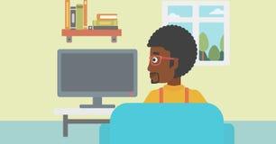 oglądanie tv człowieka royalty ilustracja