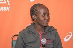 Ogla Kimaiyo, kenyan marathon runner attends a press conference Stock Photos