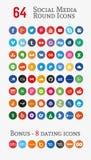 Ogólnospołeczne medialne round ikony (Ustawiać 1) Obraz Stock